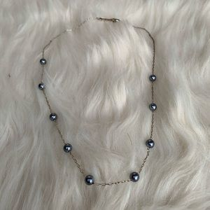 Napier 18 inch Grey Pearl and Chain Necklace Faux